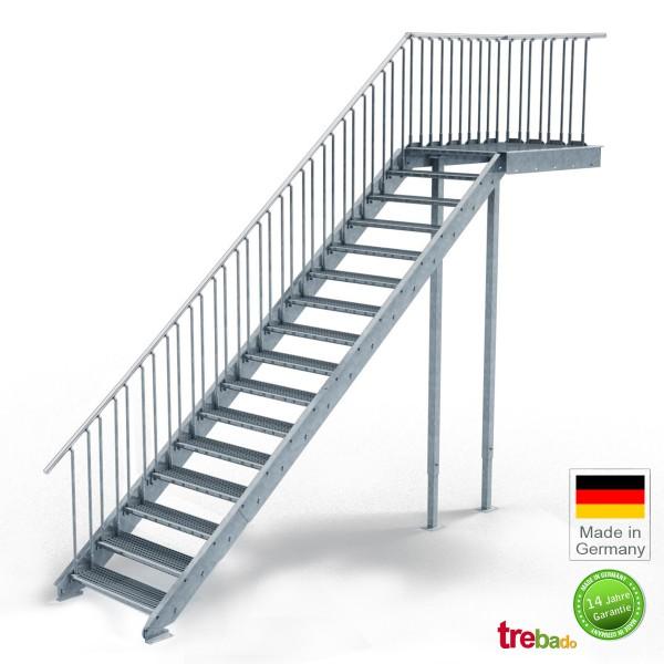 Podest-Treppe 80 cm Breit, 16 Stg. Höhe 320 cm