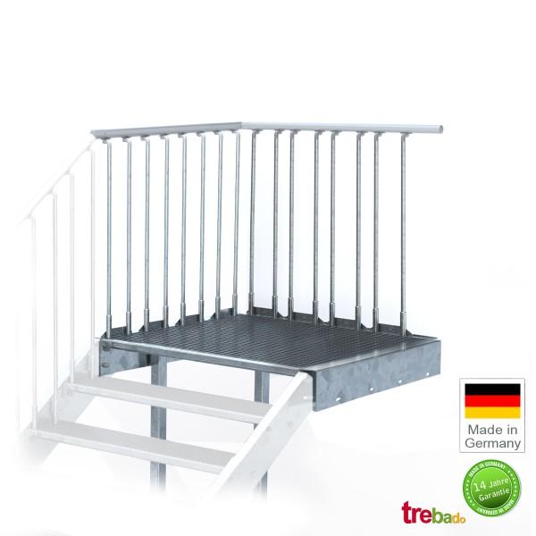 Stahlpodest 80 x 108 cm Stand-Fläche mit Geländer