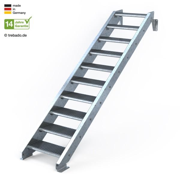 Zehnstufige, geradläufige Treppe, ohne Geländer und 60 cm langen Stufen