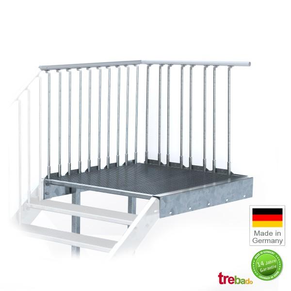 Stahlpodest 100 x 135 cm Stand-Fläche mit Geländer