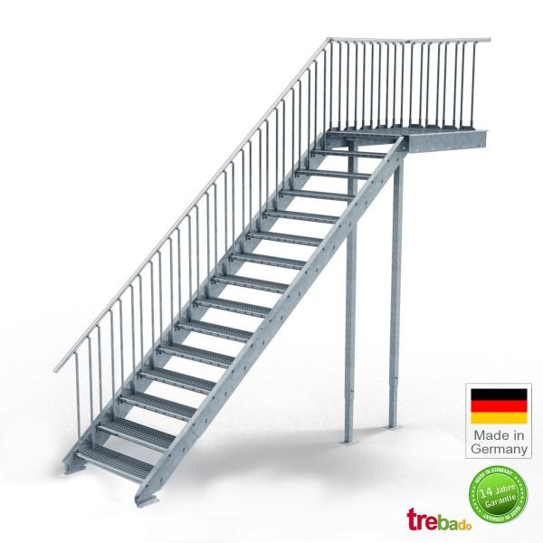 Podest-Treppe 100 cm Breit, 15 Stg. Höhe 300 cm