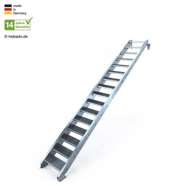 16-stufige, geradläufige Treppe, ohne Geländer und 60 cm langen Stufen