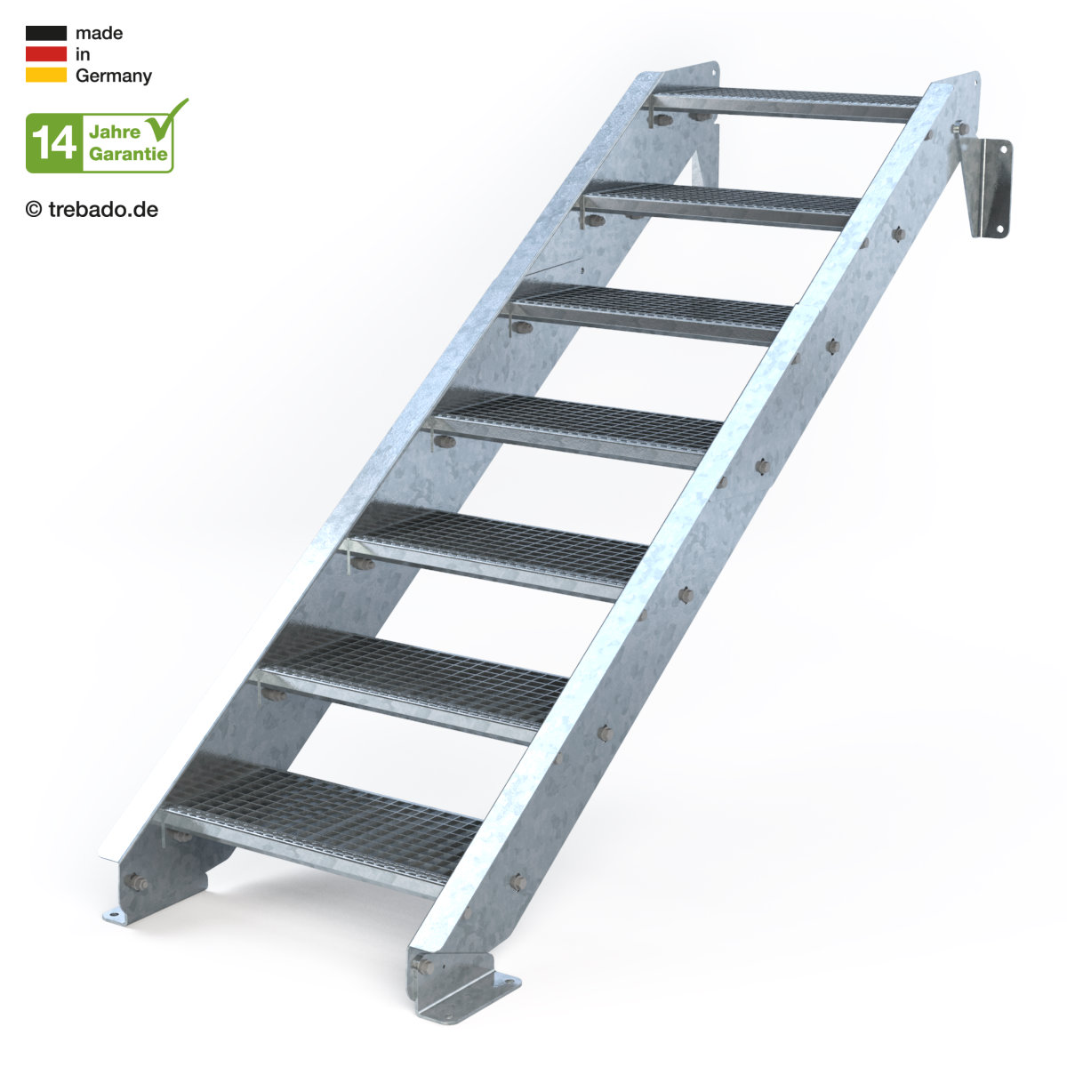 Breite 70cm Geschossh/öhe 100-140cm Stabile Industrietreppe f/ür den Au/ßenbereich Wangentreppe Robuste Au/ßentreppe 7 Stufen Stahltreppe mit beidseitigem Gel/änder Inklusive Zubeh/ör